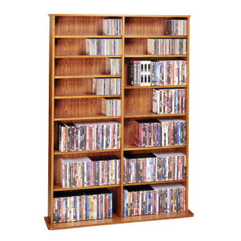 "64"" Tall Double Veneer CD DVD Media Wall Rack - Cherry"