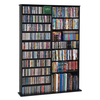 "64"" Tall Double Veneer CD DVD Media Wall Rack - Black"