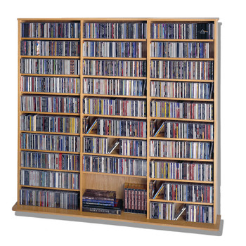 "64"" Tall Triple Veneer CD DVD Media Wall Rack - Oak"