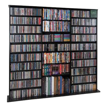 "64"" Tall Triple Veneer CD DVD Media Wall Rack - Black"