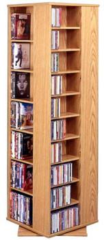 Large 4-Sided CD DVD Spinning Tower Rack - Oak