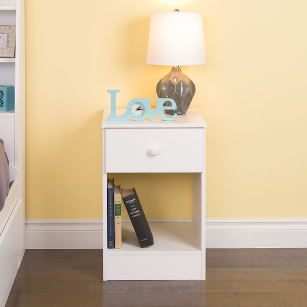 Astrid Tall 1-Drawer Nighstand, White