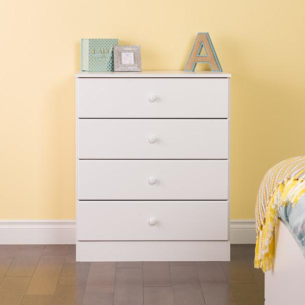 Astrid 4-Drawer Dresser, White