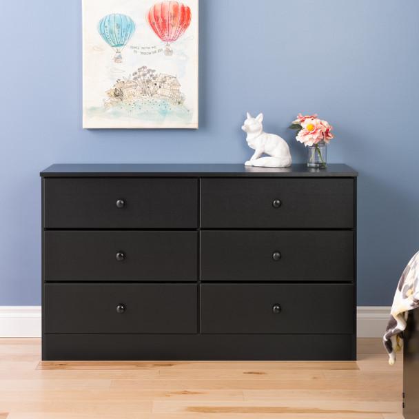 Astrid 6-Drawer Dresser, Black