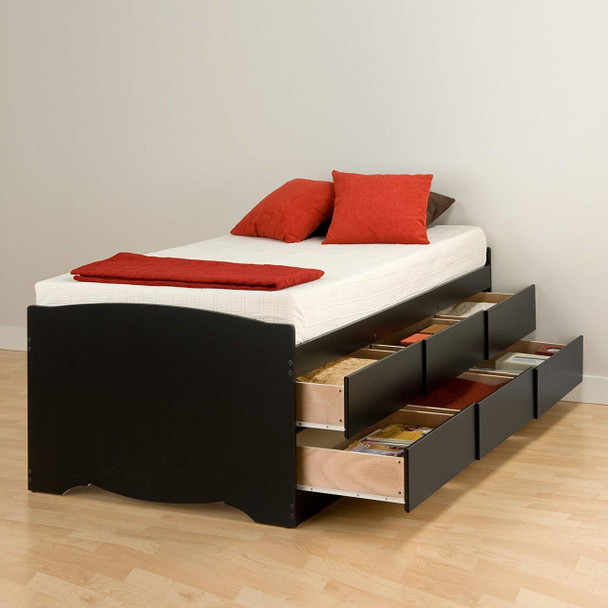 Tall Twin Captain's Platform Storage Bed with 6 Drawers, Black
