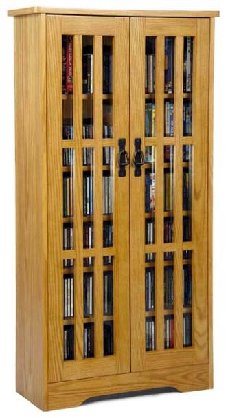"48"" Mission CD/DVD Cabinet w/Tempered Glass Doors - Oak"