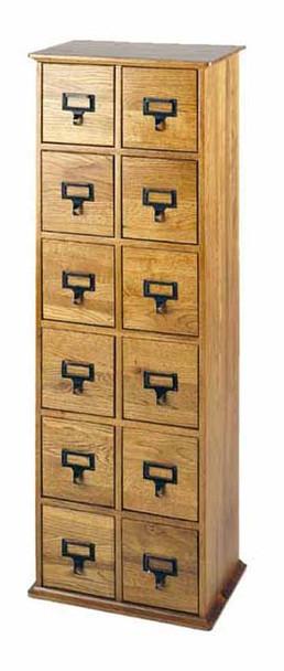 Solid Oak Library Card File CD Cabinet - 12 Drawers Oak
