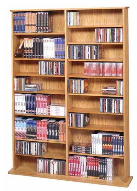 "64"" Tall Double Veneer CD DVD Media Wall Rack - Oak"