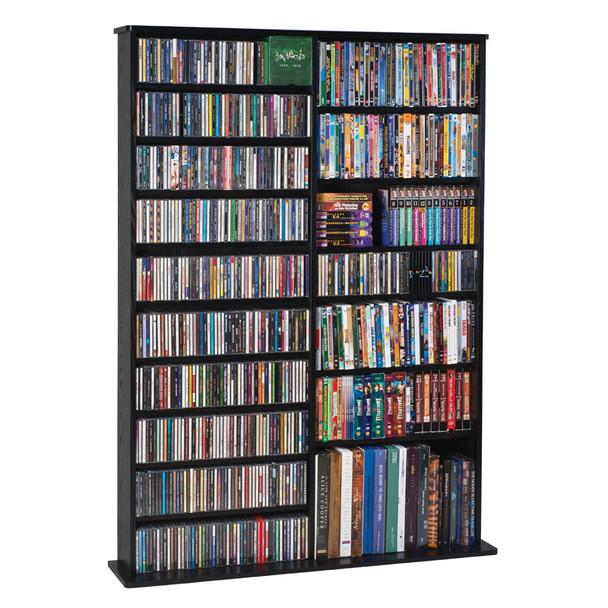"64"" Tall Double Veneer CD DVD Media Wall Rack - Black"