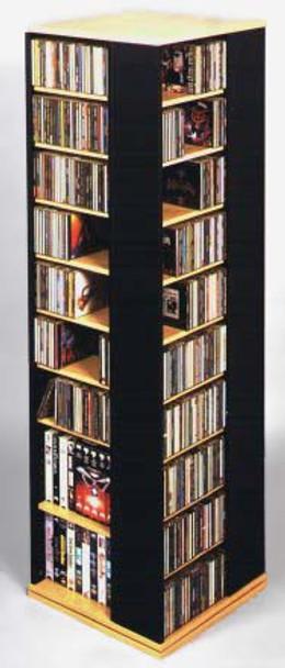 Large 4-Sided CD DVD Spinning Tower Rack - Oak/Black