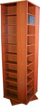 Large 4-Sided CD DVD Spinning Tower Rack - Cherry