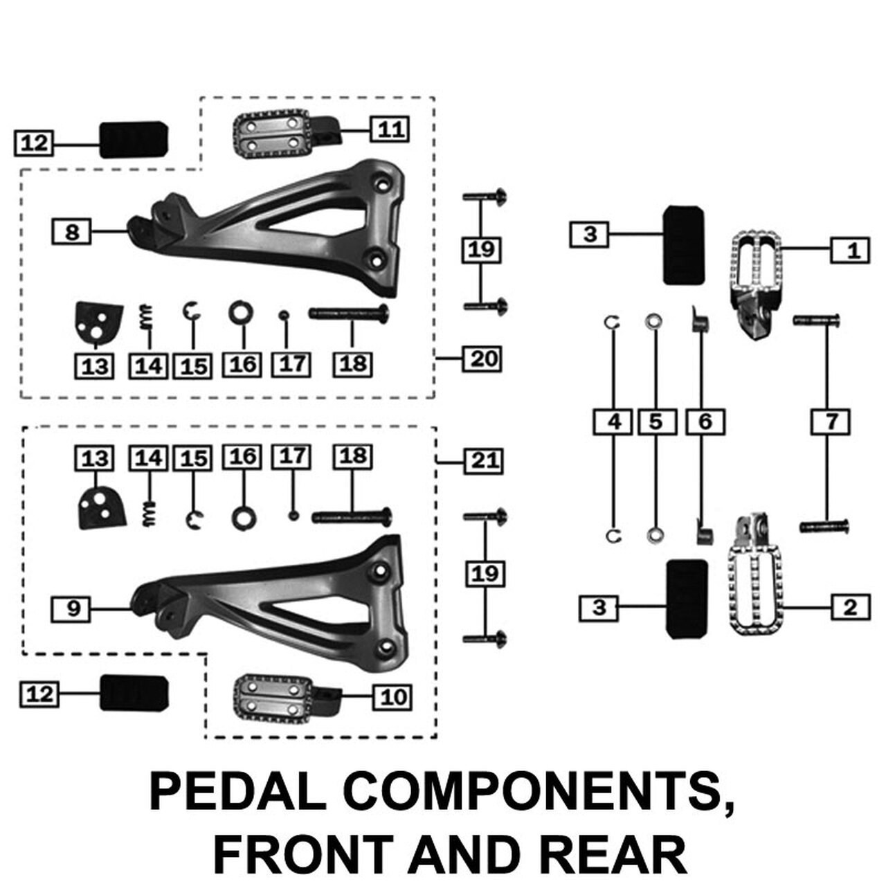 FOOT PEGS, FRONT AND REAR