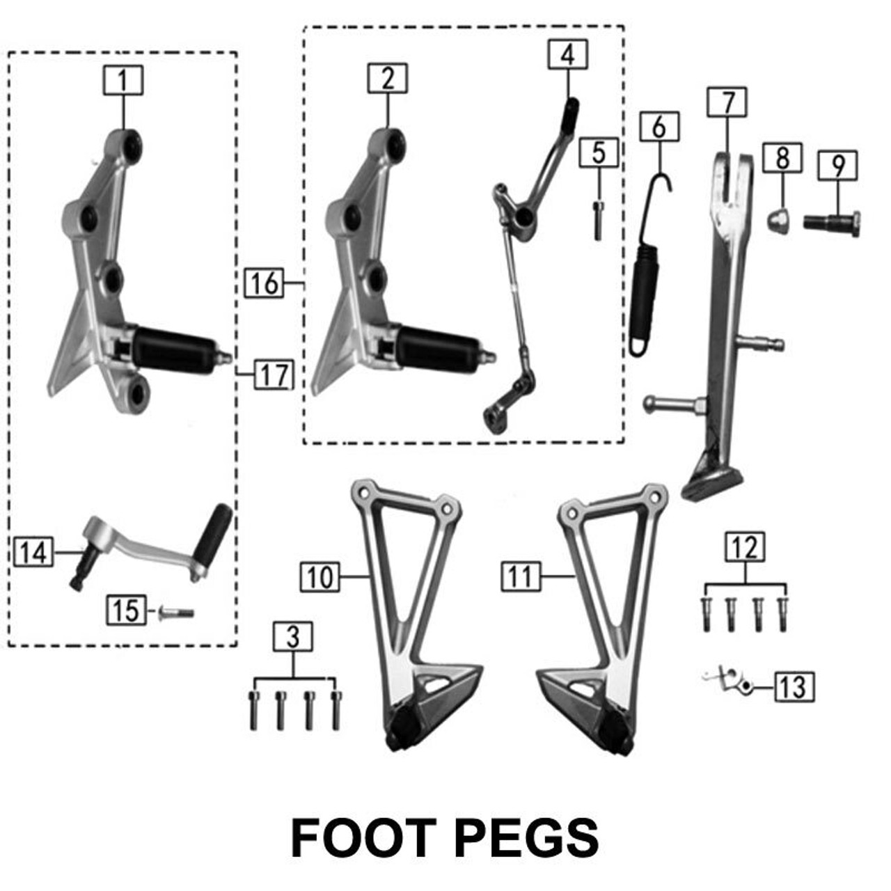 FOOTPEGS AND KICK STAND