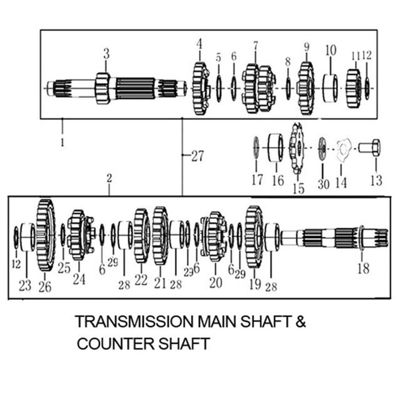 TRANSMISSION MAIN SHAFT & COUNTER SHAFT