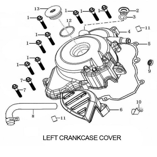 BACK PART,L.CRANKCASE COVER, RX3