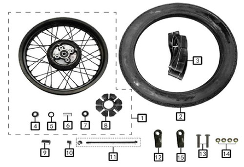 Axle, Rear Wheel m14×1.5×255