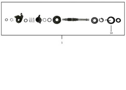 TT250 Kick Starter Shaft Parts Diagram.