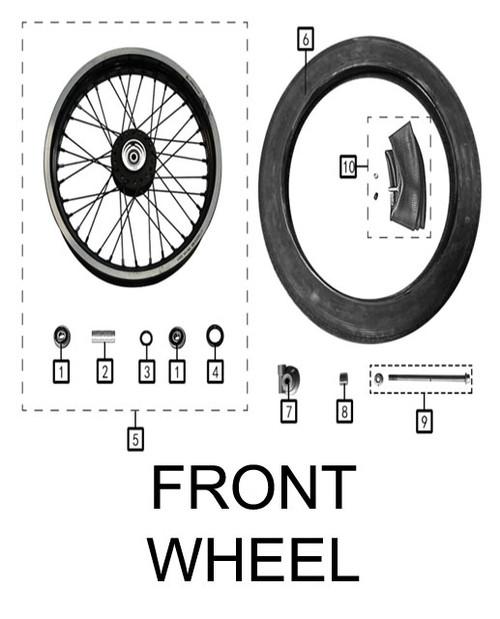 Axle,front wheel M12x1.25x206