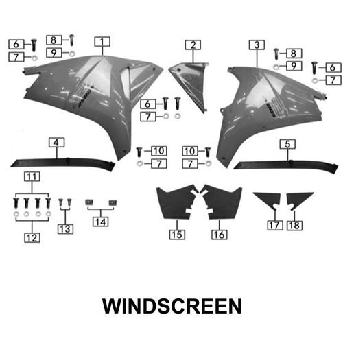 Left windscreen WHITE
