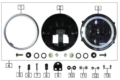 Headlight Rear Cover (2 Pieces Each With Abs, T-Shaped Bushing And Cushion Rubber Pad)