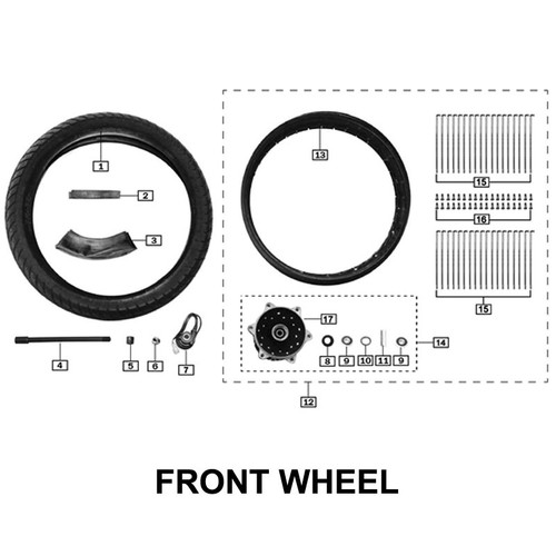 """18"""" FRONT WHEEL WITH SPOKE"""