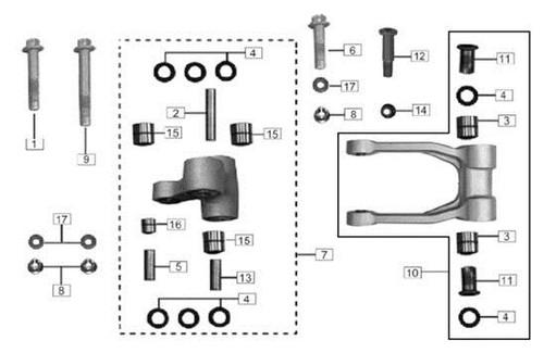 Rear subassembly, rocking frame 1