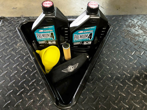 OIL CHANGE SERVICE PAK, PAN, FUNNEL, FILTER, 2 QT OIL, TOOL KIT