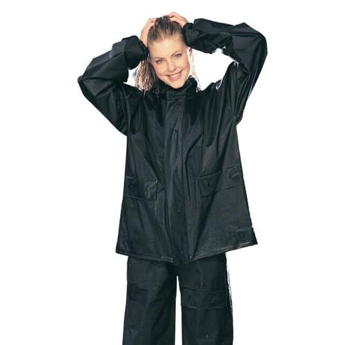 2pc PVC Rainsuit Black BK SML
