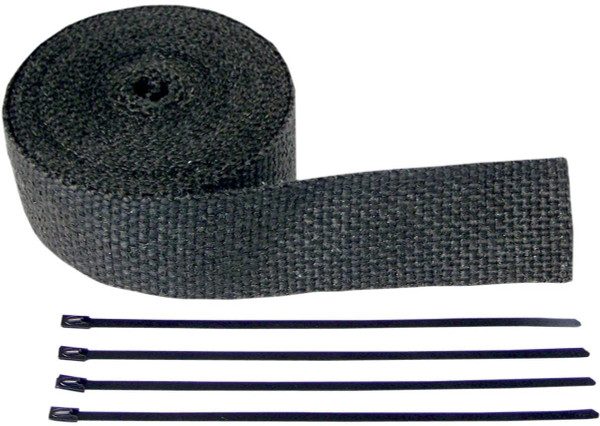 Exhaust Pipe Wrap with Tie Wrap - 2in. x 25ft. - Black