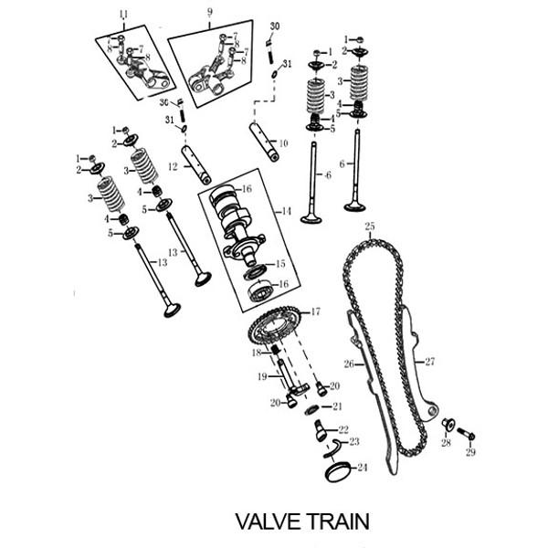 ROCKER ARM ASSEMBLY, VALVE 1