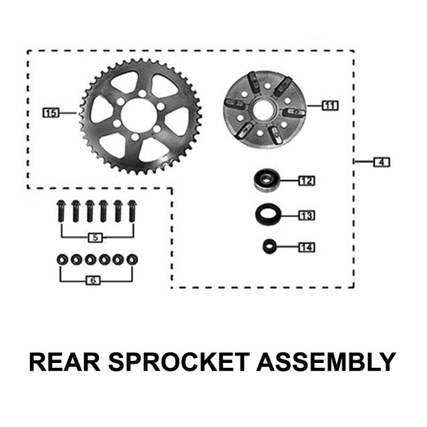 SPROCKET, 44 TOOTH (RX3 STOCK)