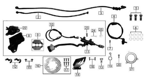 Rear disc brake oil pipe I