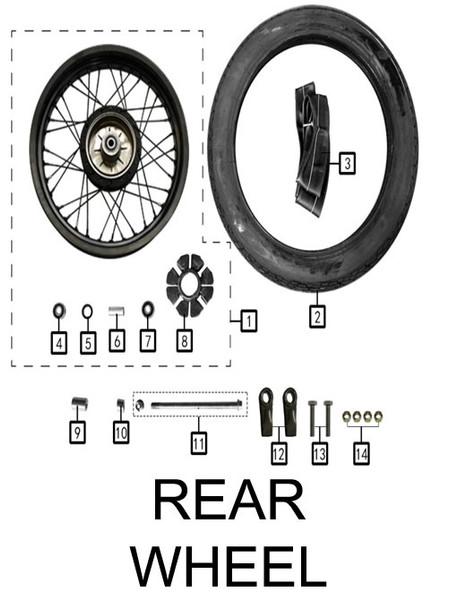 Axle,rear wheelM14x1.5x255