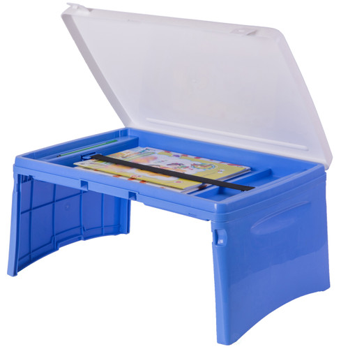 Blue And White Kids Portable Fold Able Plastic Lap Tray