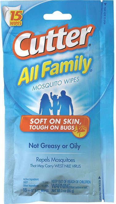 CUTTER ALL FAMILY 7% DEET WIPE