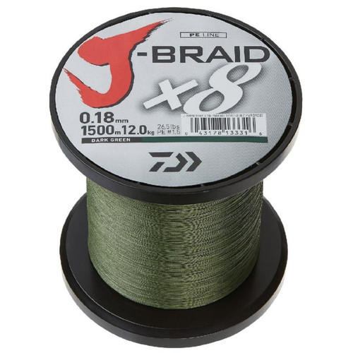 Daiwa J-Braid X4 3000 Yard Spool 10LB Test - Dark Green