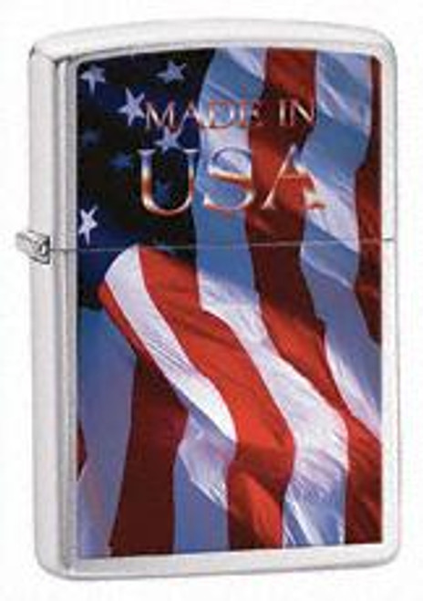 Zippo Made In Usa Flag Brushed Chrome 24797