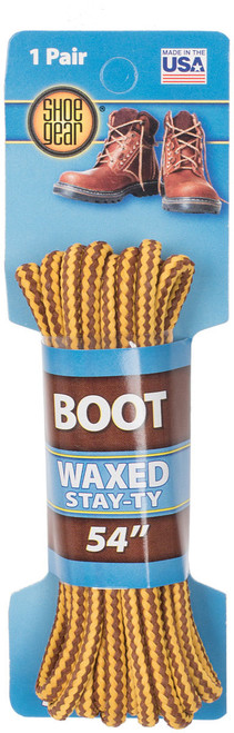 """WAXED BOOT LACES 54"""" BRWN/GOLD"""