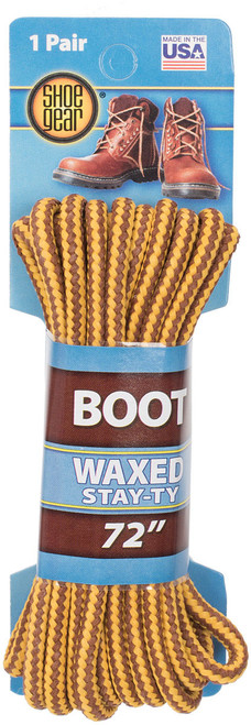 """WAXED BOOT LACES 72"""" BRWN/GOLD"""