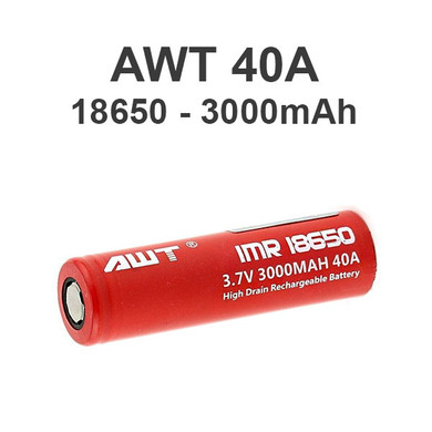 AWT Red 18650 3000 mAh 40A Battery