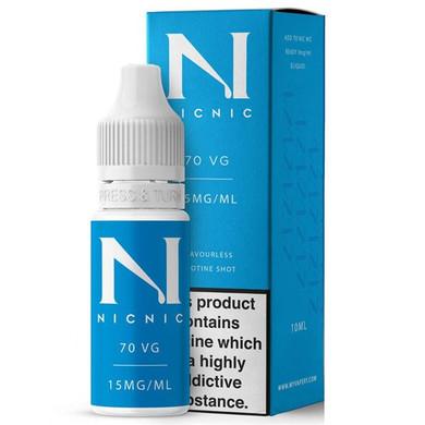 15mg Unflavoured 70VG Nicotine Shot E Liquid 10ml By Nic Nic
