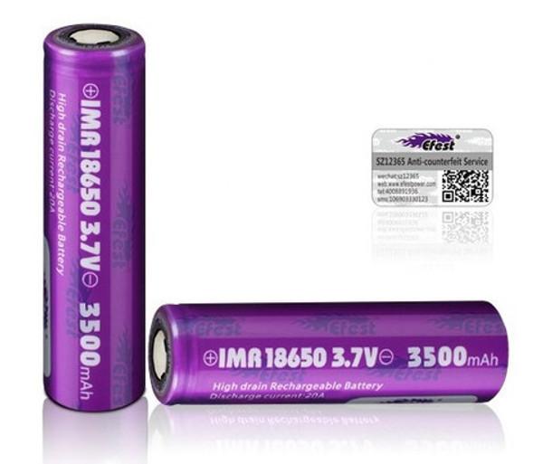 2 x Efest IMR 18650 35A 3000 mAh Battery
