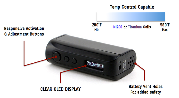 iPV D2 75w Temp Control Mod inc Free Battery Free Delivery