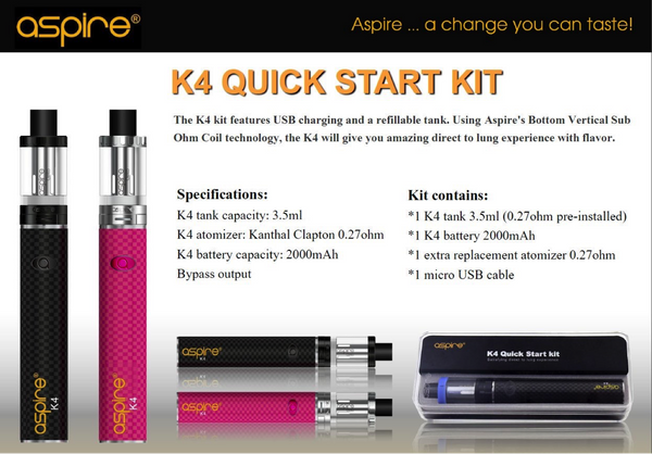 Aspire K4 Quick Start Kit Specification