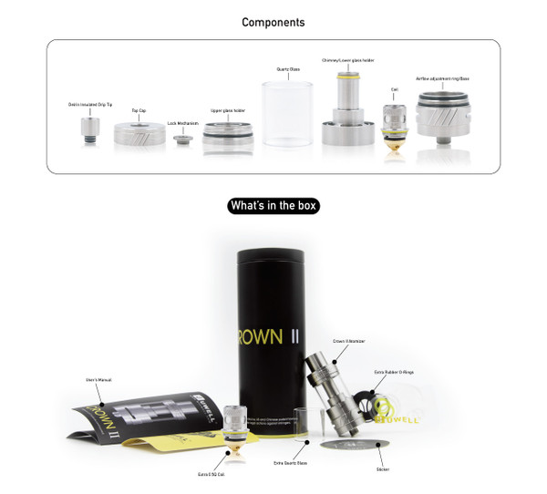 Uwell crown 2 components and packaging contents