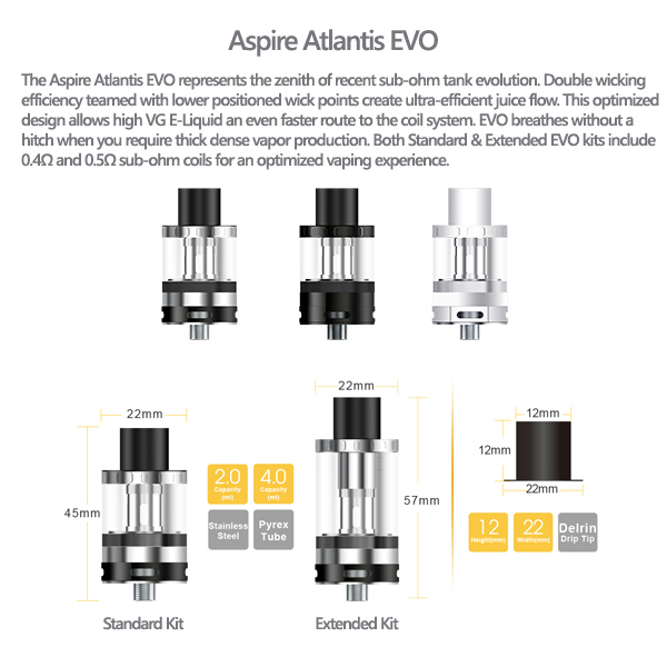 Aspire Atlantis EVO  Tanks Specification Including Extended Version (Extended version not included in this item)