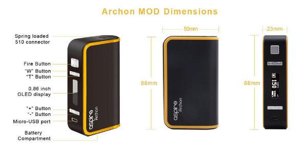 Aspire Archon 150W TC Box Mod Basic Dimensions & Buttons