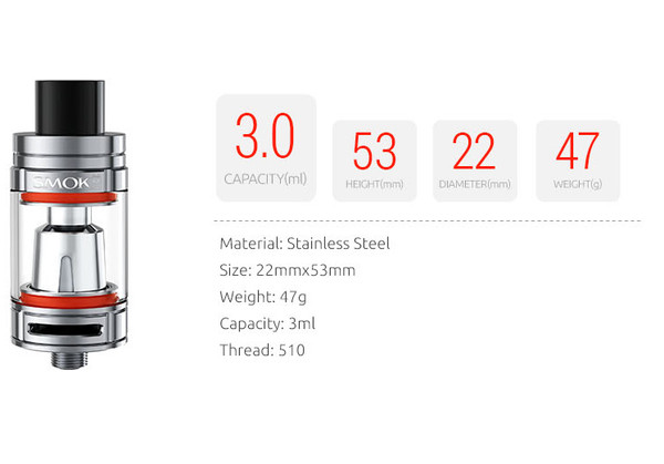 SMOK TFV8 Baby 2ml Tank Dimensions and Tech Specification