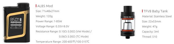 Smok AL85 Starter Kit Specification