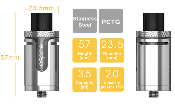 Aspire Cleito EXO Tank Technical Specification
